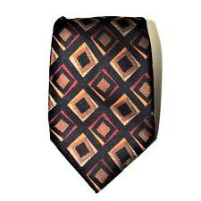 COACH Mens Necktie Tie 100% Italian Silk Brown Beige Handmade in Italy