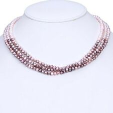 Freshwater Women Charm 3Rows Natural 5-6mm Strands Pearl Potato Round Necklace
