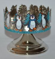 BATH BODY WORKS SPARKLY PENGUINS PEDESTAL LARGE 3 WICK CANDLE HOLDER SLEEVE 14.5