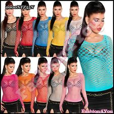 Sexy Ladies Fishnet Top Women's Blouse Summer Mesh Top One Size 6 8,10 UK