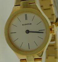 Gama - Handaufzug - Damenarmbanduhr - Edelstahl vergoldet