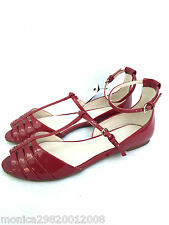 Zara Rojo Plana Bailarinas Sandalias Zapatos Talla UK4/EUR37/US6.5 ref 6251 201