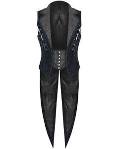 Punk Rave Mens Vest Waistcoat Tailcoat Blue Velvet Gothic Steampunk Regency VTG