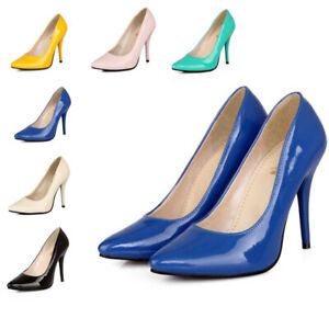 Lady New Stilettos Faux Leather Pointed Toe Shoes High Heels Pumps Shoes Fashion