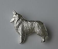 Large Sterling Silver Belgian Tervuren / Belgian Sheepdog Standing Study Brooch