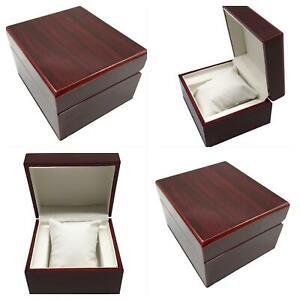 LUXURY WOODEN RED SINGLE WATCH BOX GIFT JEWELRY GIFT BRACELET GLOSS SHINY PILLOW