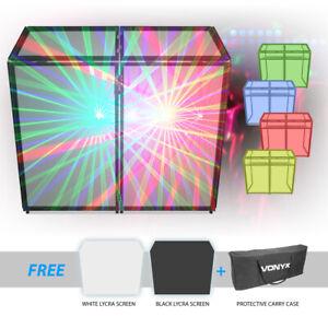 DJ Booth Screen Façade Steel Folding DJ Disco Stand Deck Console w/ Cloths & Bag