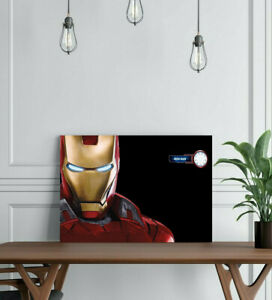 IRON MAN-FRAMED CANVAS WALL ART SUPERHERO PICTURE PAPER PRINT- MARVEL RED GOLD