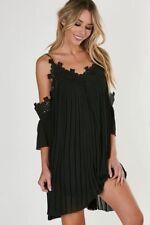 Womens Black Pleat Crochet Lace Midi Shift Swing Flare Straps Dress Top S M L XL