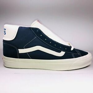 VANS OG Mid Skool LX Parisian Night Blue White Sneakers Mens Size 11 VN0A3DP7XDY