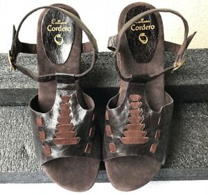 CALLEEN CORDERO BROWN LEATHER T- STRAP WOOD WEDGE SLINGBACK SANDALS SIZE 11