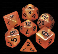 7 Piece Polyhedral Dice Set - Dwarvyn Brandy Orange Glitter - Brown Dice Bag