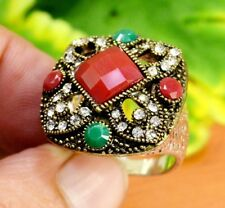 """Emerald Ruby Gemstone Victorian Turkish Silver Plated Ring Size US 7 3/4"""" GJR826"""