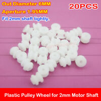 20PCS Micro Mini 2*6mm Plastic Pulley Wheel  for Motor Shaft 2mm DIY Toy Model