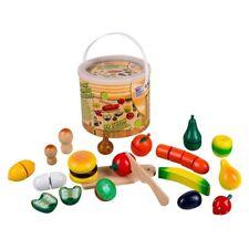 Holz Lebensmittel zum Schneiden 30 teilig Obst Gemüse Spielküche Zubehör NEU/OVP