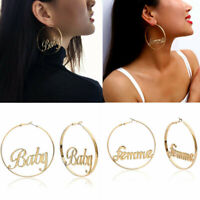 Women Statement Gold Big Circle Letters Baby Drop Dangle Earrings Jewelry Gift