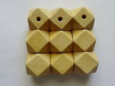 CLEARANCE 9 Beige Geometric Wood Craft Jewellery Beads 20mm