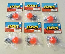 6 SETS OF METAL STEEL JACKS WITH SUPER RED RUBBER BALL GAME CLASSIC TOY KIDS