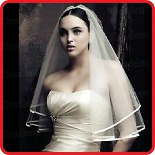WHITE TULLE WEDDING BRIDAL VEIL-STRAIGHT LINE SATIN EDGE-HEN NIGHT-COSTUME-PARTY