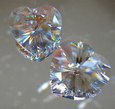 Swarovski Set of Two Heart 1 Clear and 1 AB  Prisms Ornament Logo, 28mm Retired