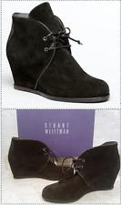 Stuart Weitzman Kalahari laceup ankle boot Hidden Wedge Black Suede bootie 8.5 M