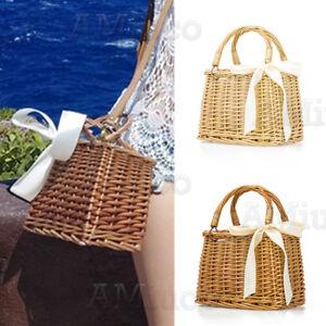 Ladies Woven Straw Handbag Bamboo Bag Clutch Bag Solid Box Square Shoulder Bag