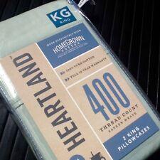 New MINT GREEN Heartland 400 TC 100% HomeGrown Cotton Sateen KING Pillowcases