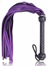 Leather Flogger Purple & Black Leather Whip 25 Tails Genuine Leather SM Sex Toy