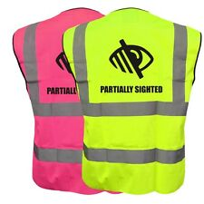 PARTIALLY SIGHTED LOGO YELLOW PINK HI VIZ VIS WAISTCOAT VEST SAFETY BIKE CYCLE