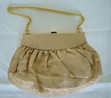 Vintage 50s gold brocade evening clasp purse chain strap bag