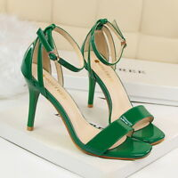 Women's Sandals Ankle Strappy Patent Leather High Heels Open Toe Dress Shoes