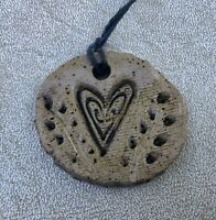 Art Studio Pottery Abstract Heart Pendant Necklace/Ornament,Signed,Oblong,Love