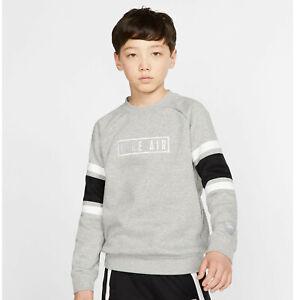 Nike Air Crewneck Sweatshirt Boy's Grey Heather / Black / White BV3591-050 NEW