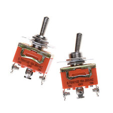 1Pcs 250V 15A ON-OFF-ON 3 Terminals Orange SPDT Locking Toggle Switch Popeca