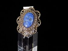 "HSN Studio Barse Blue Oval Lapis Lazuli Bronze ""Petal"" Scroll detail Ring Size 6"