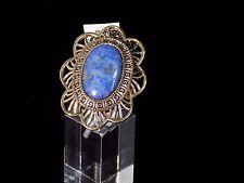 "Studio Barse Ring Size 6 Blue Oval Lapis Lazuli Bronze ""Petal"" Scroll detail"