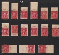 1903 Sc 319 MNH plate number single, Hebert CV $56 each