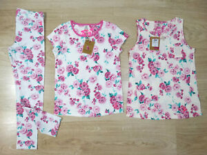 Joules Girls White Pink Floral Set Singlet T-Shirt Leggings Age 7-8 Size 8 NEW!