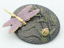 Brooch Pin Pendant - Dragonfly Ladybug Bamboo Green & Purple Enamel - Gold Tone