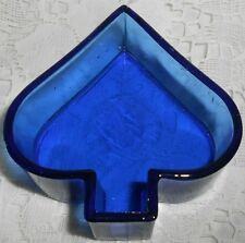 Blue Vaseline Uranium glass spade pattern salt dip cellar poker art card Cobalt