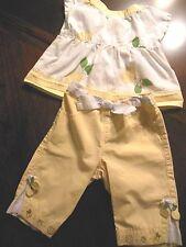 Gymboree Baby Girls 2pc Outfit, EUC, 3-6M, Yellow/White w/Green, Lemons, NICE