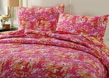 DaDa Bedding Lovely Harvest Starburst Pop of Colorful Pink Red Bedspread Set