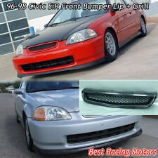 SiR Style Front Bumper Lip + TR Style Grill (ABS) Fit 96-98 Civic 2dr