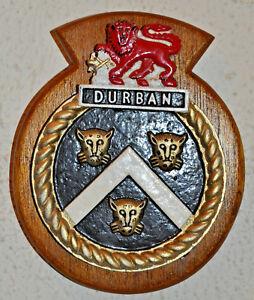 Vintage cast metal SAS Durban plaque crest navy South African Ship