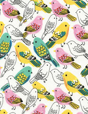 Colored Birds on White Cotton Timeless Treasures Fabric #2970 By the Yard
