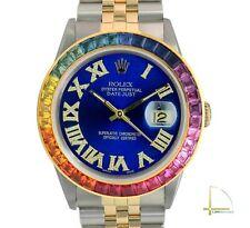 Rolex Datejust Watch 18KY & SS Blue Diamond Roman Rainbow Bezel Jubilee 36mm