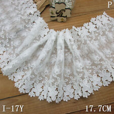 1 Yard White Venise Floral Lace Trim Embroidered For DIY Craft Wide 6 7/8""
