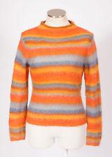 LUCKY BRAND Rainbow Striped Fuzzy Mohair Knit Sweater Jumper Shirt Top Womens M