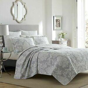 2-Pc Laura Ashley Venetia Reversible Twin Quilt Set Gray Farmhouse Damask Floral