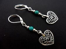 A PAIR OF TIBETAN SILVER DANGLY HEART TURQUOISE BEAD LEVERBACK HOOK  EARRINGS.